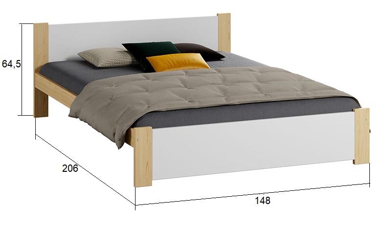 Łóżko DMD3 140 sosna + biały Meble Magnat