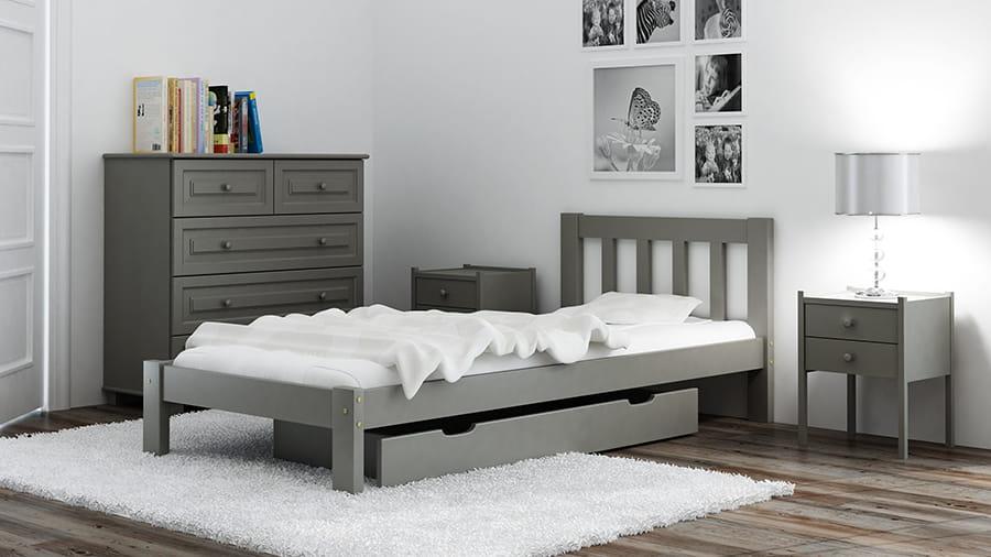 Łóżko sosnowe Ofelia 90x200 szare