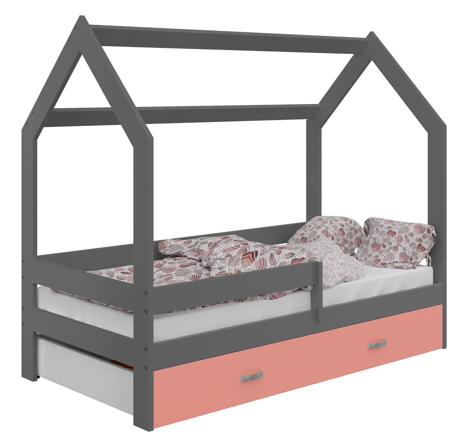 łóżko Domek Dziecięce 160x80 Dla Dzieci Szare D3