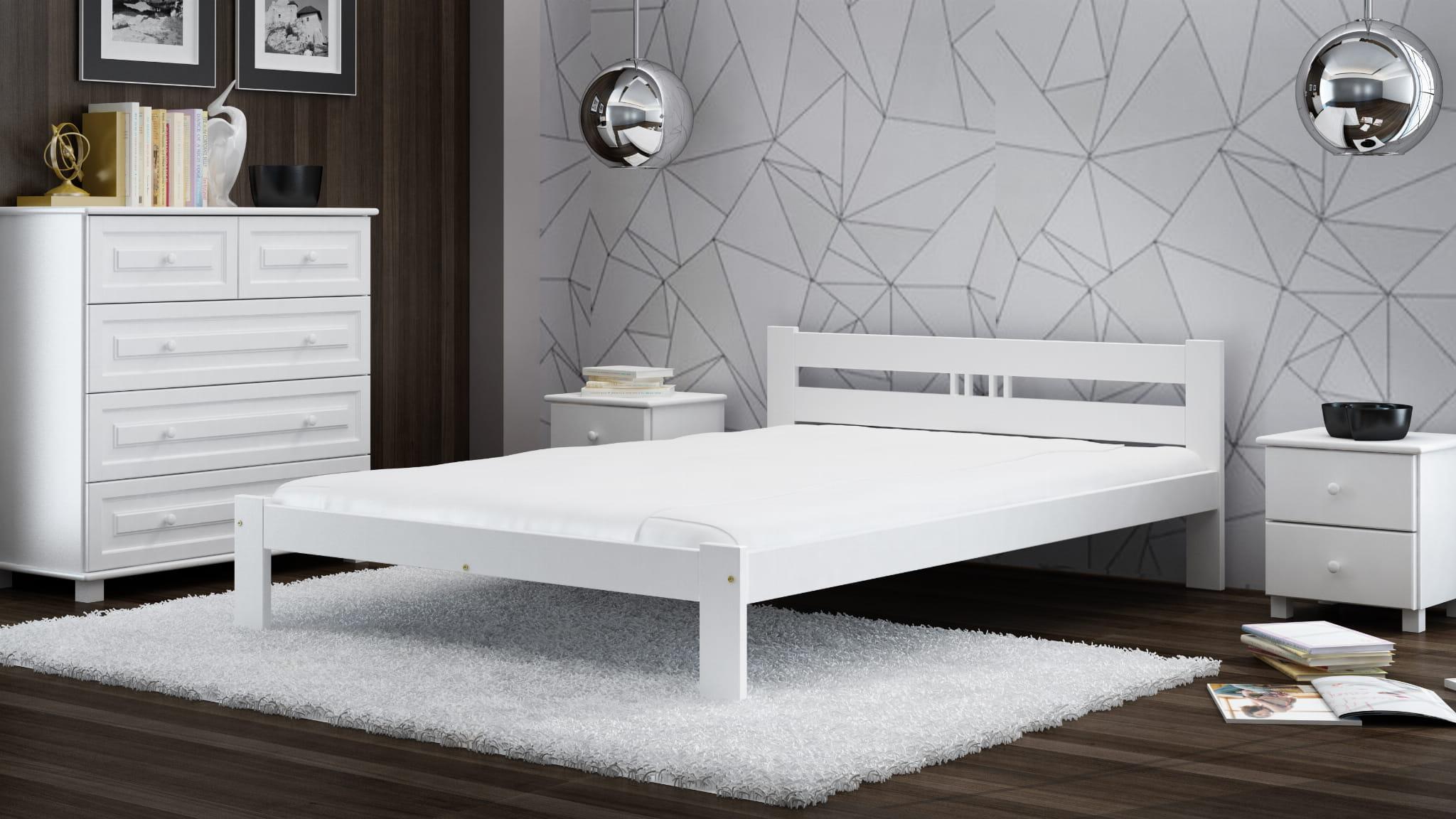 łóżko Ekologiczne Drewniane Emilia 140x200 Białe