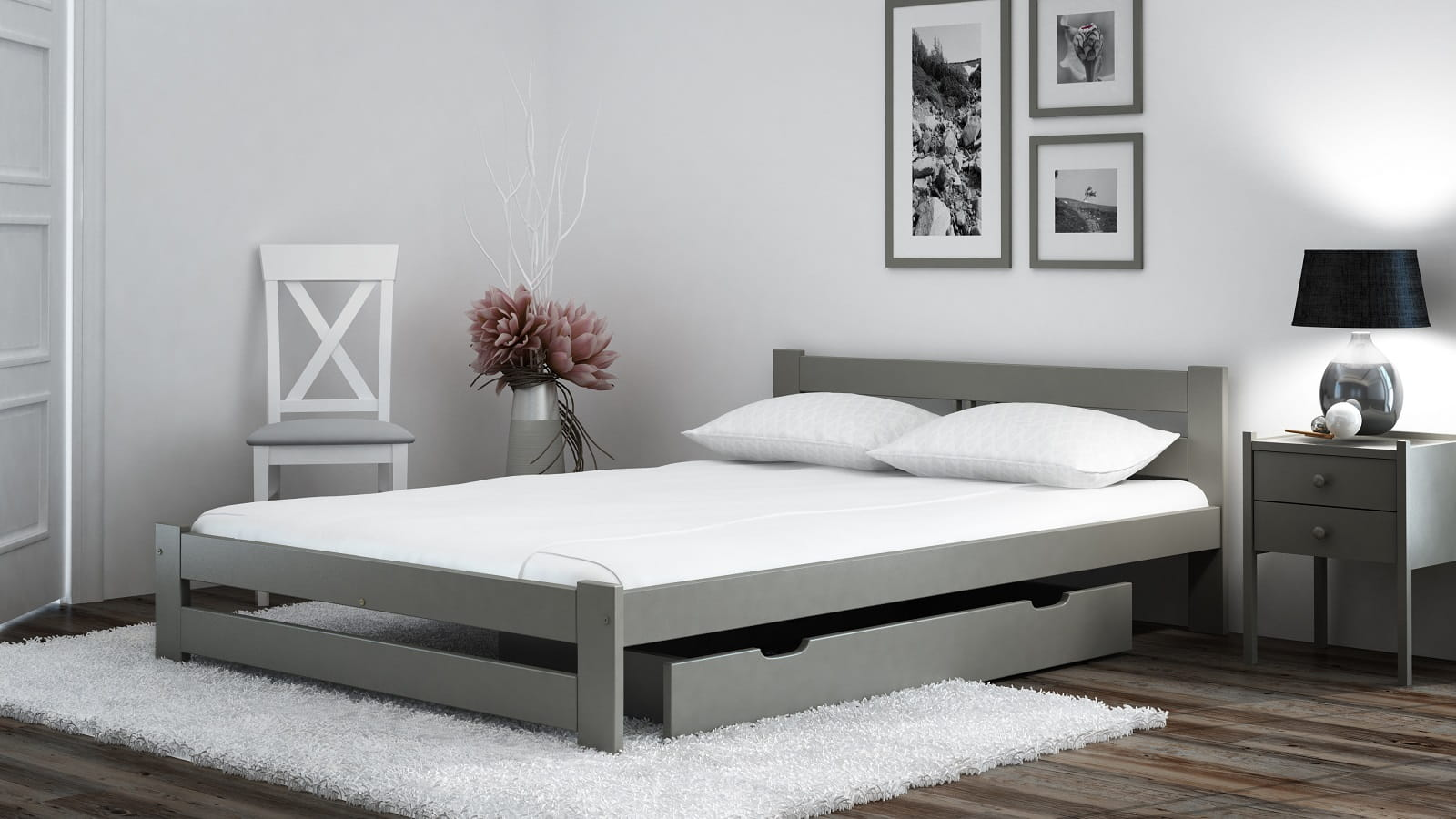 łóżko Ekologiczne Drewniane Oliwia 140x200 Szare