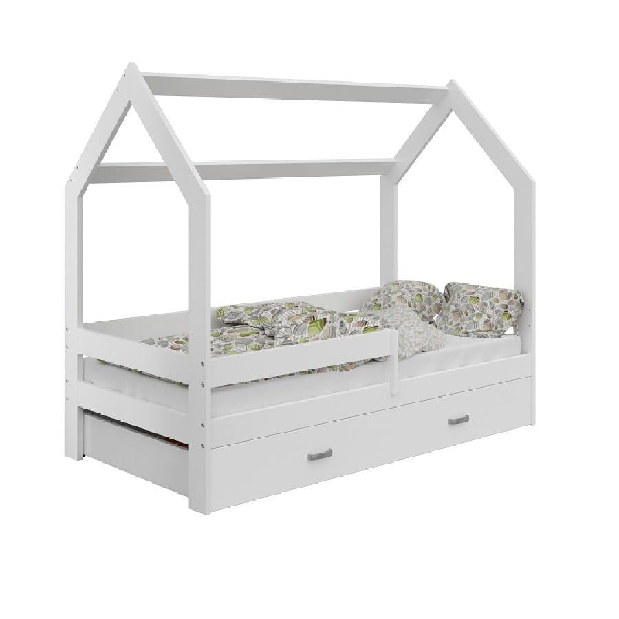 łóżko Domek Dziecięce 160x80 Dla Dzieci Białe D3