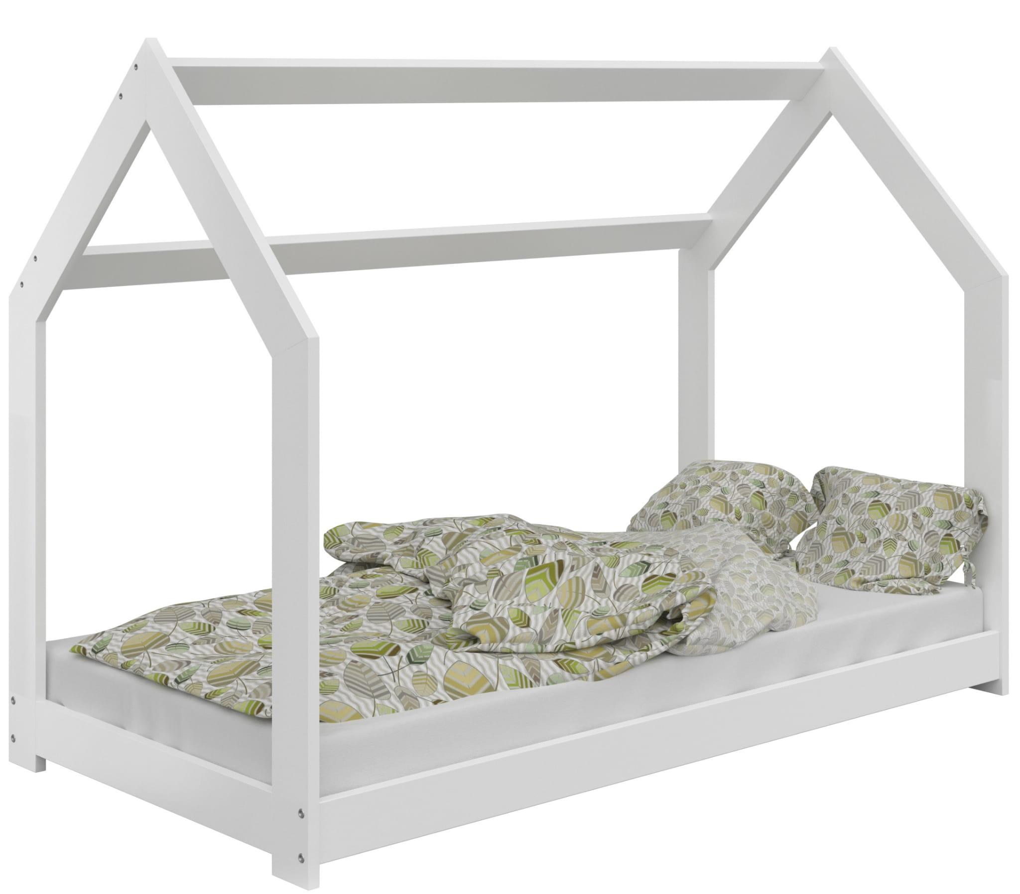 łóżko Domek Dziecięce 160x80 Dla Dzieci Białe D2