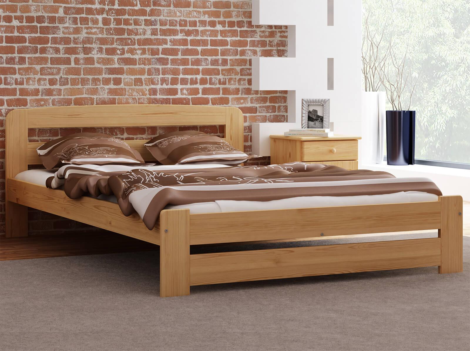 łóżko Drewniane Lidia 140x200 Z Materacem Piankowym