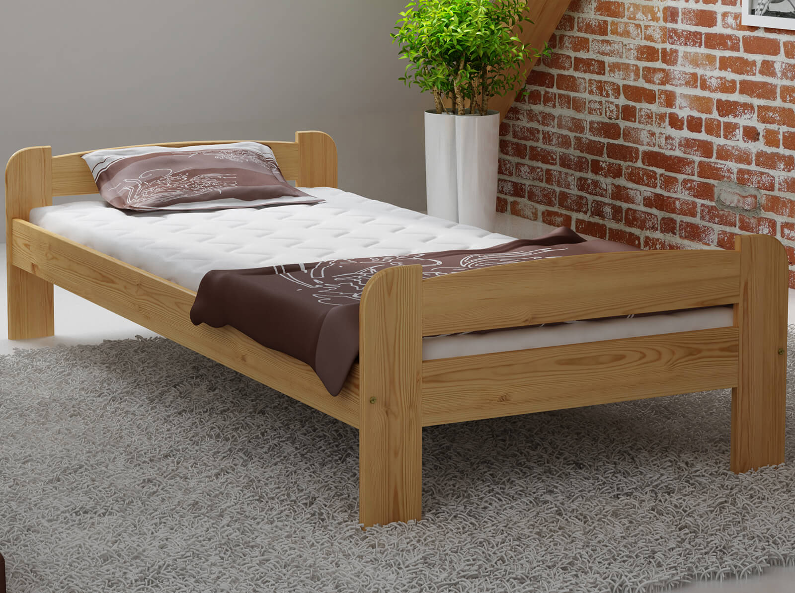 łóżko Drewniane Ania 90x200 Z Materacem Kieszeniowym