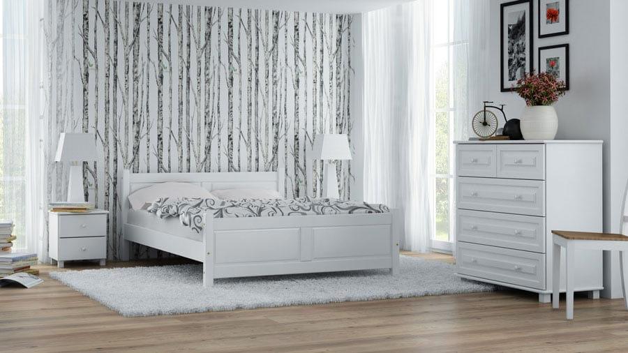 łóżko Drewniane Lena 160x200 Białe